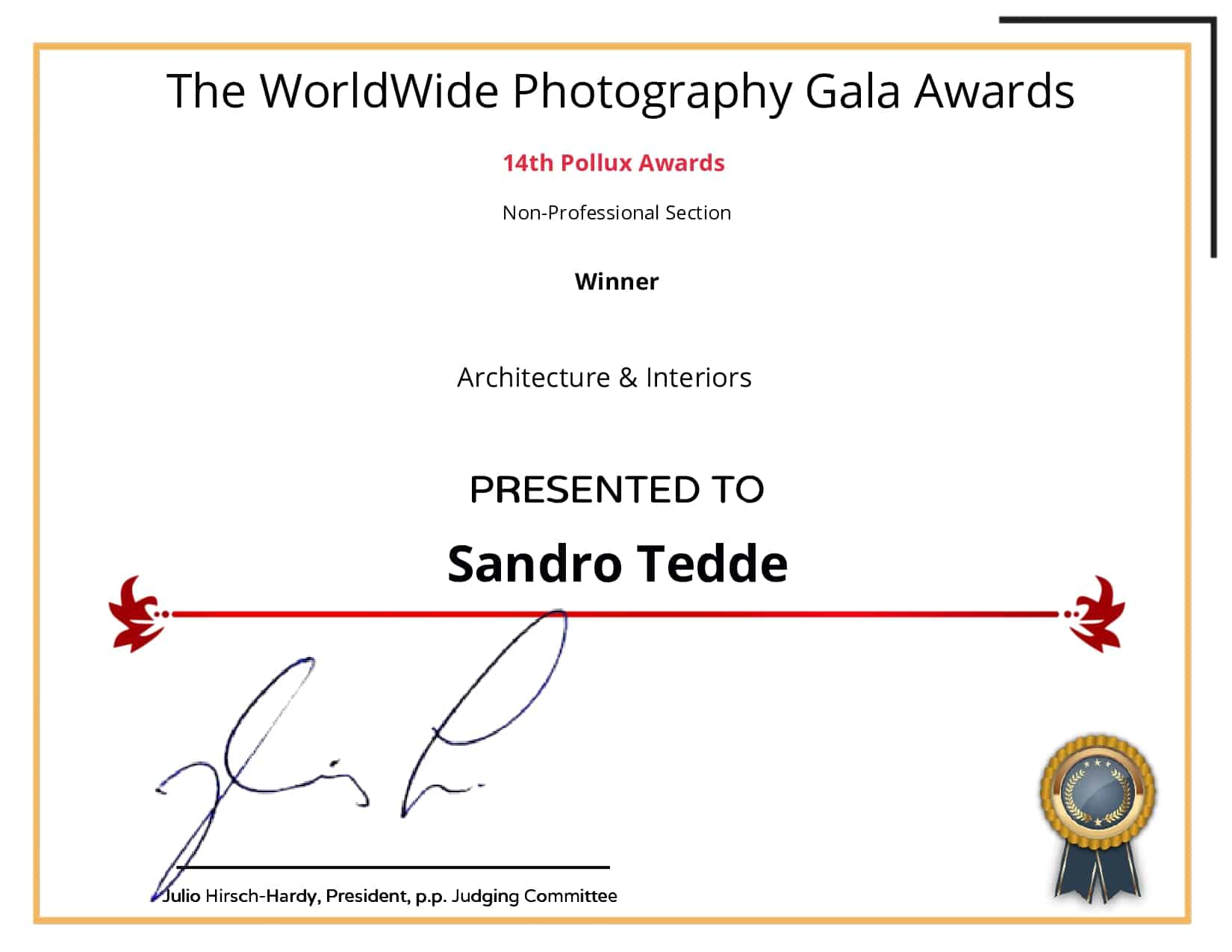 The Worldwide Photography Gala Awards _ FotoNostrum Certificate